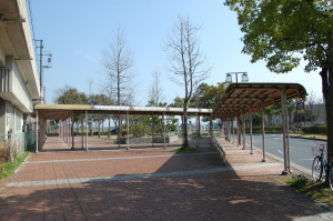 バス路線が廃止され閑散とするJR湖西線唐崎駅バス停留所