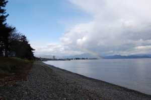 岬から虹に空に伸びていました