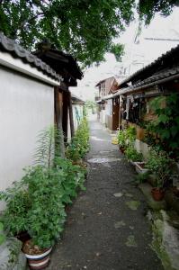 お寺と長屋のすき間の路地です、もうすぐ出口
