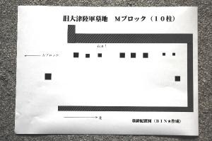 旧大津陸軍墓地 Mブロックの墓石配置図(BIN★作成)