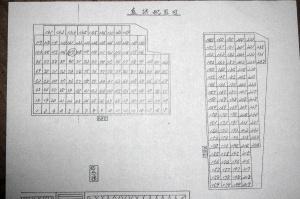 バイパス工事によって新設された墓地の墓石連番表(大津市作成)