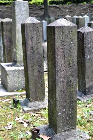 様々な出身地を刻む西南戦争の兵卒の墓碑