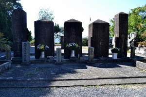 墓地の奥に茶色い巨石が見える・・・
